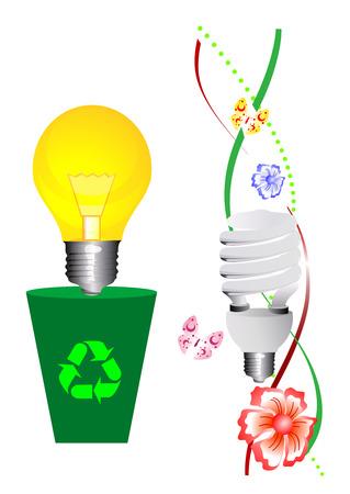 bombillo ahorrador: Conceptual ilustraci�n sobre la ecolog�a de manera de pensar