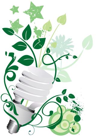 bombillo ahorrador: Bombilla econ�mica con fondo de grunge floral