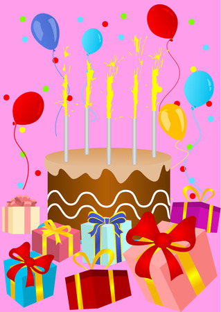 felicitation: Happy birthday card with birthday cake and presents