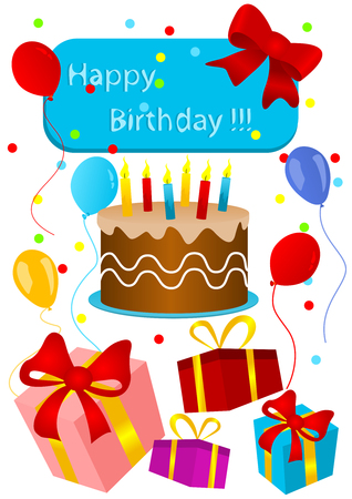 Happy birthday card with birthday cake and presents Stock Vector - 5613943