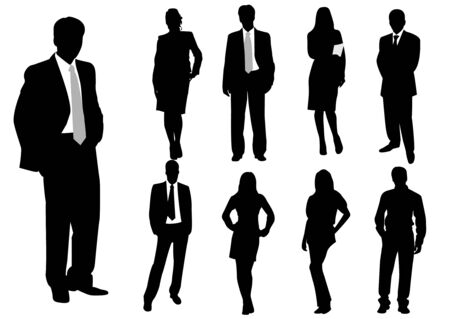 Illustration of business men and women, with reflection