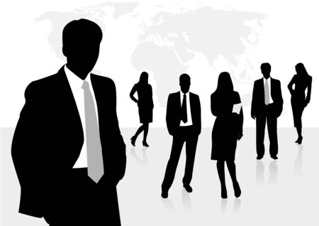 Illustration of business men and women, with reflection and world map as background Illustration