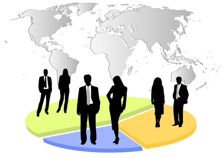 Illustration of business men and women, with chart and world map as background Illustration