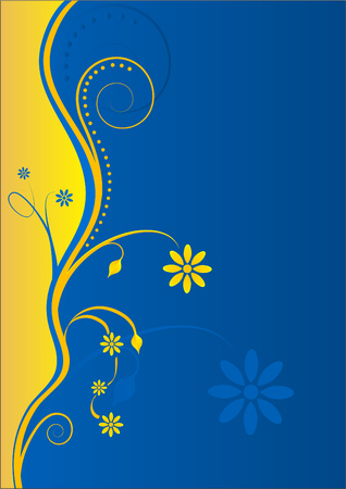 textbox: Floral Yellow-Blue Background with Text-box