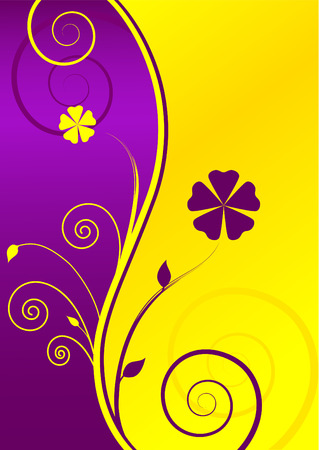 Floral Yellow-Purple Background with Text-box Vector