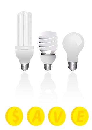 bombillo ahorrador: Tres tipos de bombillas, con sombra