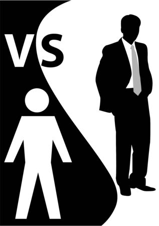 Conceptual illustration with one man versus another Vector