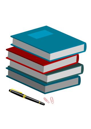 Illustration of books isolated on white background