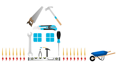 Illustration of a house made of tools Stock Vector - 5876056