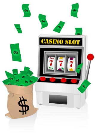 Casino illustration with slot machine and money
