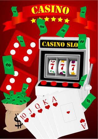 Illustration avec des éléments de casino de jeu.