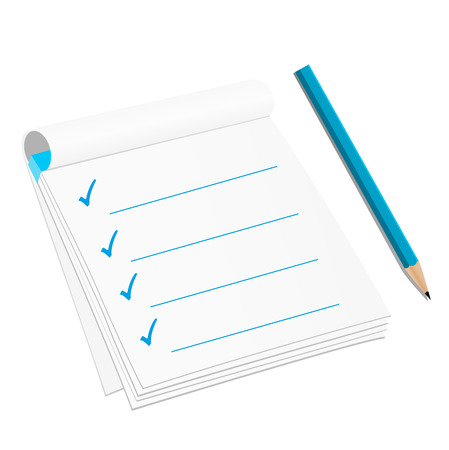 enumerate: Checklist isolated on white background
