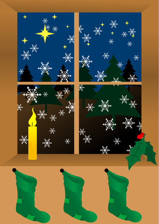 Christmas background with candle and socks Vector