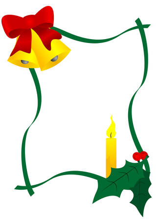 textbox: Christmas text-box with bells, holly and candle Illustration