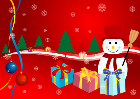 Abstract Christmas background with  presents, snowman and Christmas trees Vector