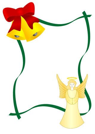 Christmas text-box with bells and angel Stock Vector - 5884826