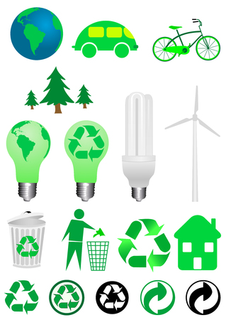 Collection of ecology icons isolated on white background