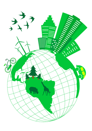 antipollution: Conceptual ecologic illustration with globe