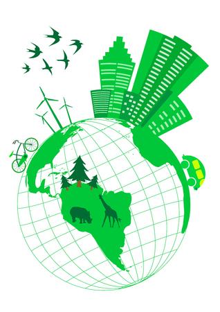 ecologic: Ilustraci�n ecol�gica conceptual con globo Vectores