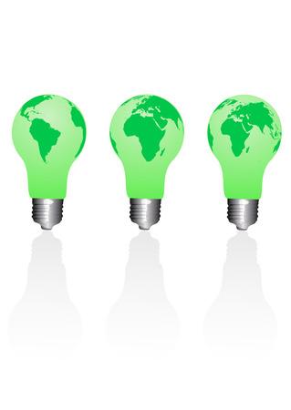 Set of conceptual ecological light bulbs Vector