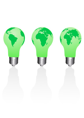 antipollution: Set of conceptual ecological light bulbs Illustration