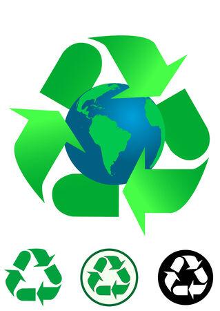 antipollution: Concepto ecol�gico que iconos de fondo y reciclaje aislaron sobre fondo blanco