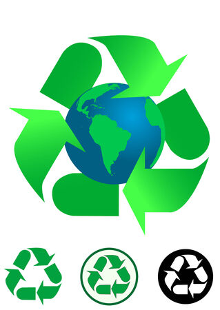 Ecological concept background and recycle icons isolated on white background Vector
