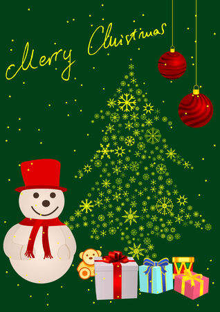Abstract winter background with snowman and a Christmas tree Vector