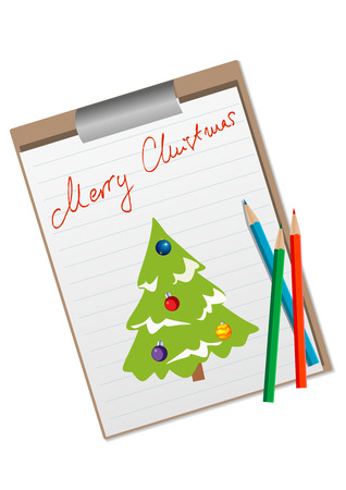 Illustration of a Christmas card with Christmas tree Vector