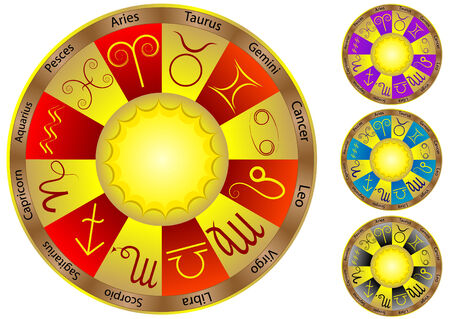 Zodiac signs on various color glossy circles  Vector