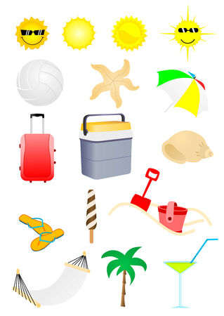 Set of detailed summer holiday elements Vector