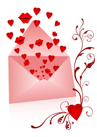 Envelope with kisses and hearts popping out Vector