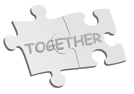 linked together: Conceptual background with puzzle pieces Illustration