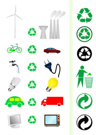 Collection of reduce/recycle concept elements