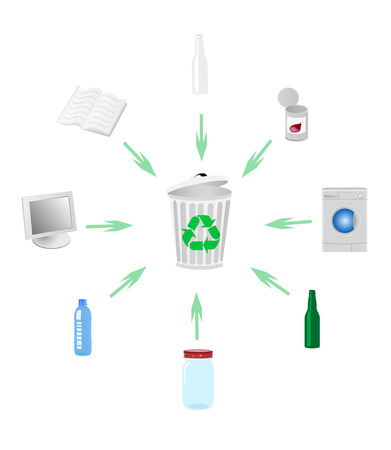 antipollution: Illustration of recycle concept with various detailed objects