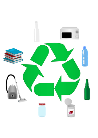 Illustration of recycle concept with various detailed objects