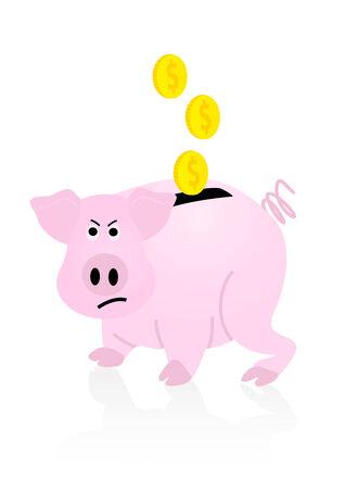 desperation: Upset pink piggy bank, isolated on white background Illustration