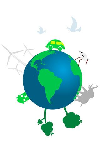 antipollution: Ilustraci�n de un concepto ecol�gico del mundo