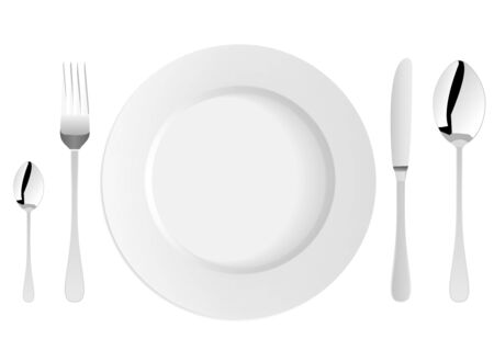 White plate with fork, knife and spoons