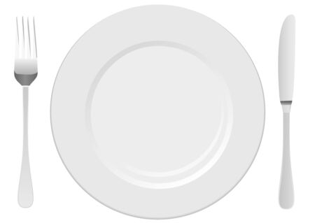 flatwares: White plate with fork and knife Illustration
