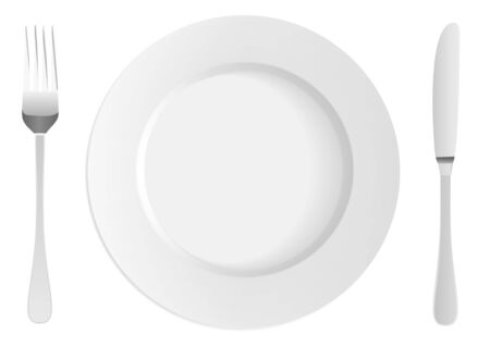 formal place setting: White plate with fork and knife Illustration
