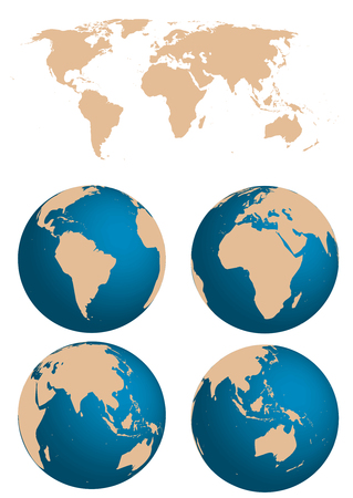 Map and Globe of the World Stock Vector - 5992249