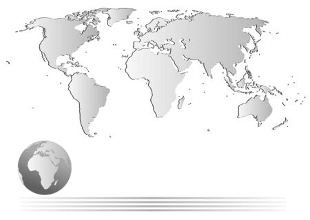 Background illustration with glossy map, globe and space for your text