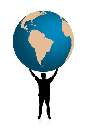 victorious: Man holding globe with his hands