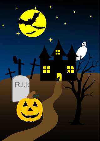 Halloween background with old hunted castle Stock Vector - 5992165