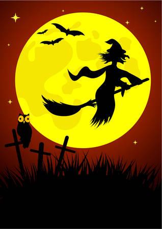 Halloween background with witch and moon Stock Vector - 5992100