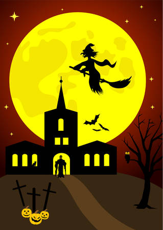 Halloween background with old hunted castle Stock Vector - 5992183
