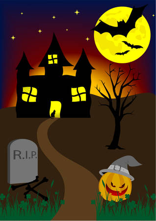 hunted: Halloween background with old hunted castle