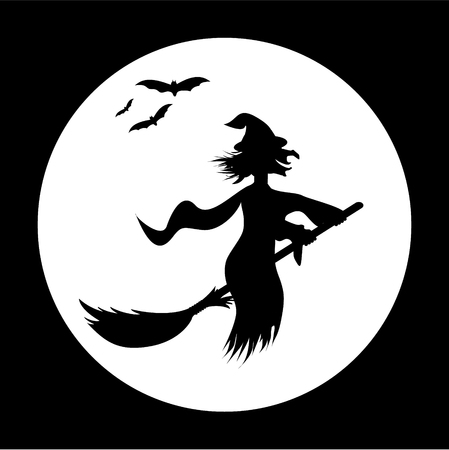 Halloween illustration with bats and witch Vector