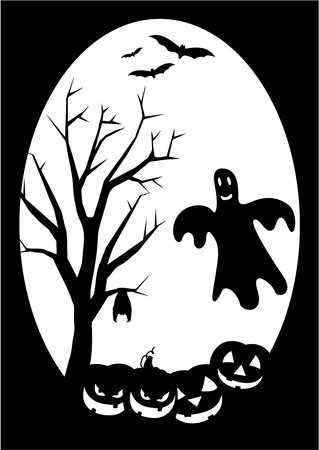 Halloween illustration with silhouette of ghost and pumpkins Vector